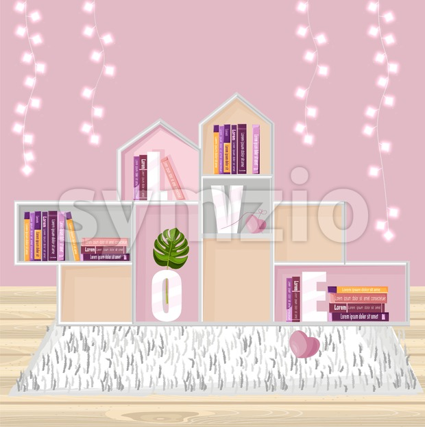 Abstract shelves for books decor Vector. Modern design. Flat style Stock Vector