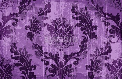 Rococo texture pattern Vector. Floral ornament decoration old effect. Victorian engraved retro design. Vintage fabric decor. Violet color Stock Vector