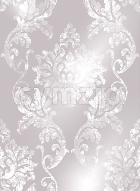 Rococo texture pattern Vector. Floral ornament decoration old effect. Victorian engraved retro design. Vintage fabric decor. Beige color Stock Vector