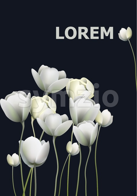 White flowers banner black background Vector. Retro floral backgroun Stock Vector