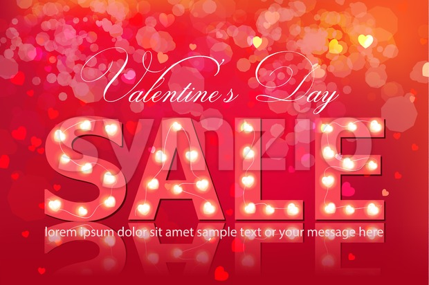 Valentine day sale banner Vector realistic. Red vintage bulb lights template. Text with glowing lights. Soft bokeh effect romantic card lay out Stock Vector