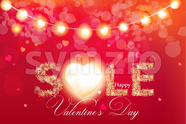 Valentine day sale banner in glitter Vector realistic. Red vintage lights template. Text with glowing lights. Soft bokeh effect romantic card lay out Stock Vector