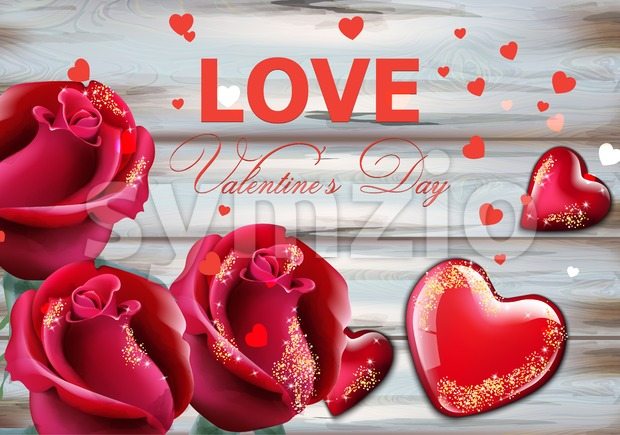 Valentine day card with red roses and hearts Vector realistic. Soft bokeh effect romantic card template Stock Vector