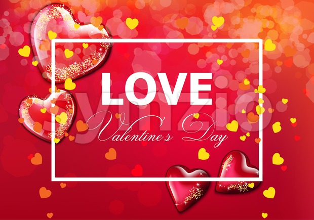 Valentine day card with hearts Vector realistic. Soft bokeh effect romantic card template Stock Vector