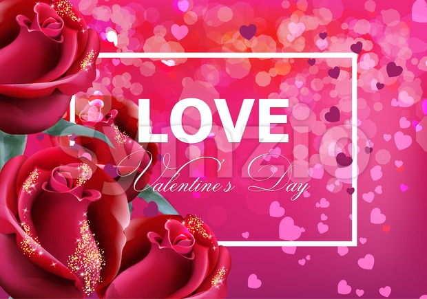 Valentine day card with red roses Vector realistic. Soft bokeh effect romantic card template Stock Vector