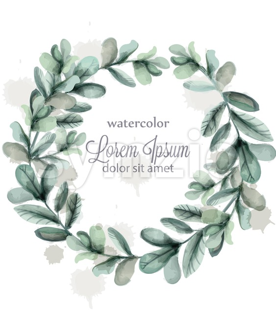 Leaves round wreath frame Vector watercolor. Wild green card decoration Stock Vector