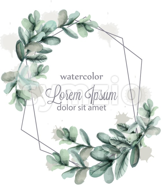 Leaves abstract wreath frame Vector watercolor. Wild green card decoration Stock Vector