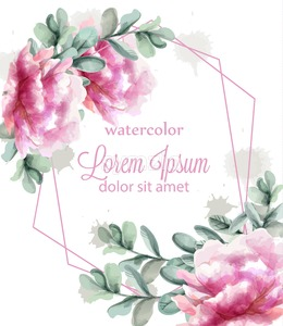Pink peony flowers frame watercolor banner Vector. Abstract floral bouquet invitation. Wedding ceremony event Stock Vector