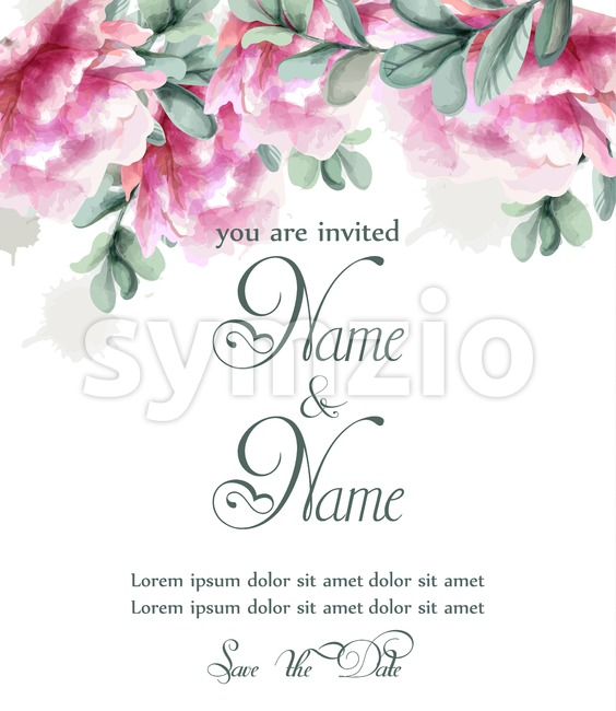 Pink peony flowers watercolor banner Vector. floral bouquet invitation. Wedding ceremony event Stock Vector