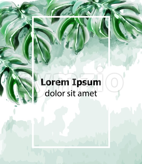 Palm leaves card frame Vector watercolor. Tropic exotic texture. Wild green decor