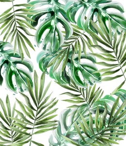 Palm leaves pattern Vector watercolor. Tropic exotic texture. Wild green decor Stock Vector