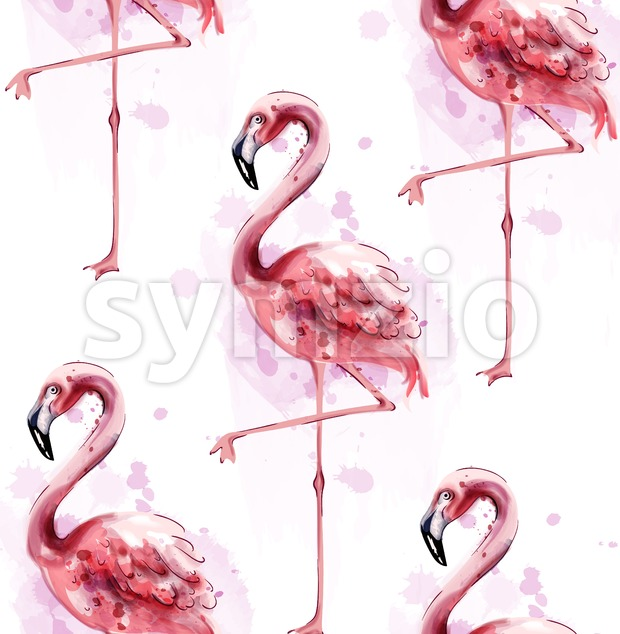 Flamingo pattern watercolor Vector. Exotic bird cute poster template Stock Vector