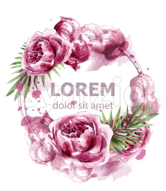 Pink peony flowers watercolor banner Vector. Exotic floral bouquet invitation. Wedding ceremony event Stock Vector