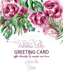 Pink peony flowers watercolor banner Vector. Exotic floral bouquet invitation. Wedding ceremony event card Stock Vector