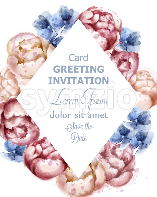 Colorful peony flowers watercolor greeting card Vector. Peony floral bouquet invitation. Wedding ceremony event Stock Vector