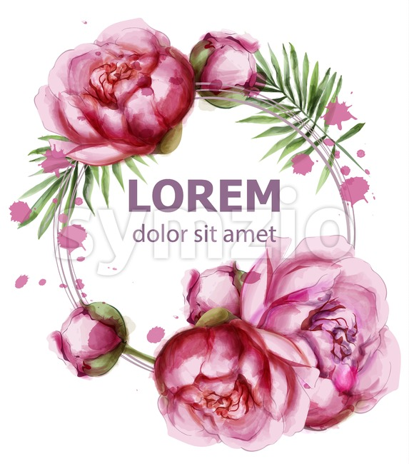 Peony flowers delicate wreath Vector. Wedding invitation card. Save the date. Spring summer decor Stock Vector