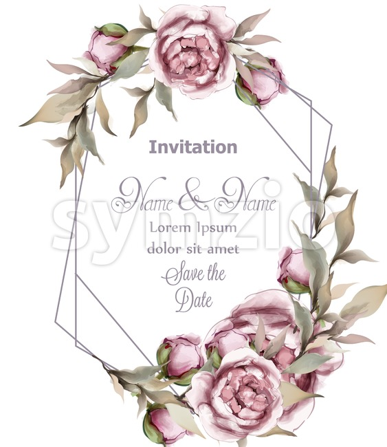 Rose delicate abstract frame Vector. Wedding invitation card. Save the date. Spring summer decor Stock Vector