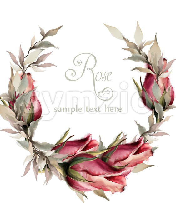 Roses wreath watercolor Vector. Spring summer wedding invitation card Stock Vector
