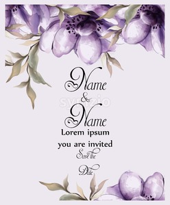 Purple flowers card watercolor Vector. Wedding invitation ceremony. Spring trendy painted decor Stock Vector