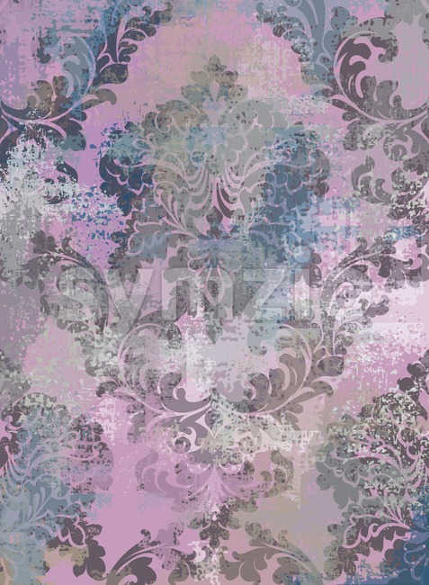 Rococo texture pattern Vector. Floral ornament decoration old effect. Victorian engraved retro design. Vintage fabric decors. Pink color Stock Vector