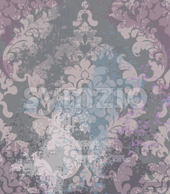 Rococo texture pattern Vector. Floral ornament decoration old effect. Victorian engraved retro design. Vintage fabric decors. Pink dark colors Stock Vector
