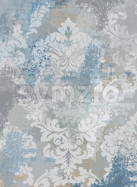 Rococo texture pattern Vector. Floral ornament decoration old effect. Victorian engraved retro design. Vintage fabric decors. Blue color Stock Vector
