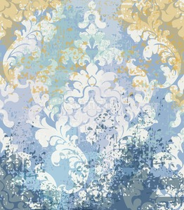 Rococo texture pattern Vector. Floral ornament decoration old effect. Victorian engraved retro design. Vintage fabric decors. Blue old effect color Stock Vector