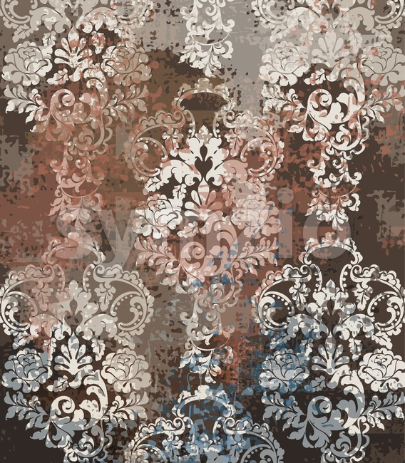 Rococo texture pattern Vector. Floral ornament decoration old effect. Victorian engraved retro design. Vintage fabric decors. Chocolate brown color Stock Vector