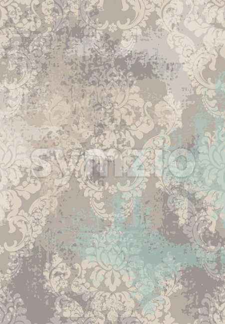 Rococo texture pattern Vector. Floral ornament decoration old effect. Victorian engraved retro design. Vintage fabric decors. Beige color Stock Vector