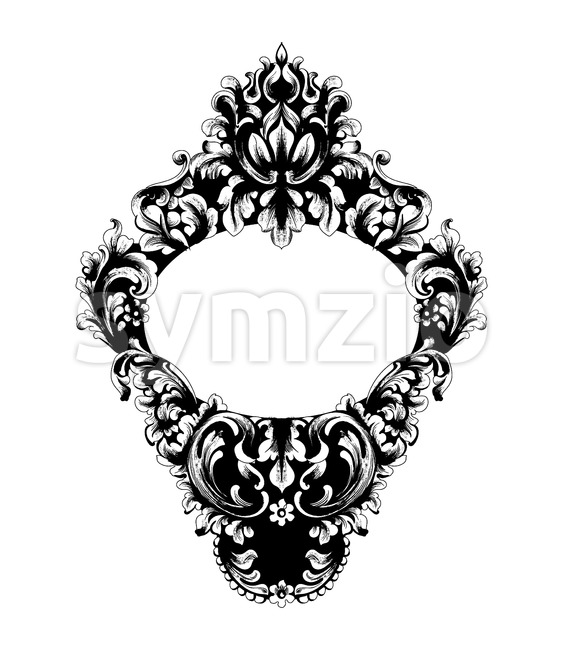 Imperial Baroque Mirror frame Vector. French Luxury rich intricate ornaments. Victorian Royal Style decor