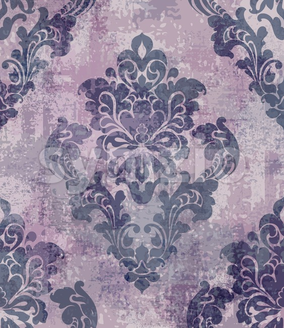 Rococo texture pattern Vector. Floral ornament decoration old effect. Victorian engraved retro design. Vintage fabric decors. Violet color Stock Vector