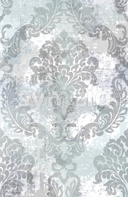 Rococo texture pattern Vector. Floral ornament decoration old effect. Victorian engraved retro design. Vintage fabric decor. Gray color Stock Vector