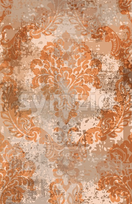 Rococo texture pattern Vector. Floral ornament decoration old effect. Victorian engraved retro design. Vintage fabric decor. Rust colored Stock Vector