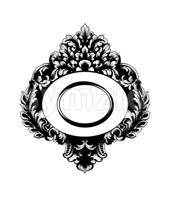 Vintage Baroque Mirror frame Vector. French Luxury rich intricate ornaments. Victorian Royal Style decor