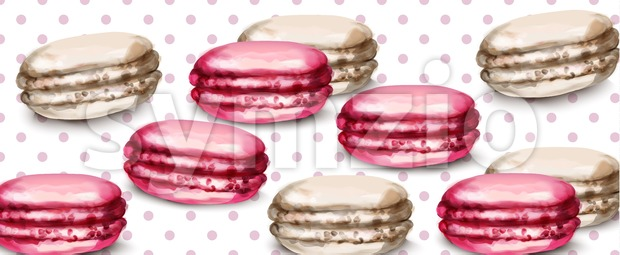 Macaroons retro background Vector watercolor. Banner template sweet french decor Stock Vector