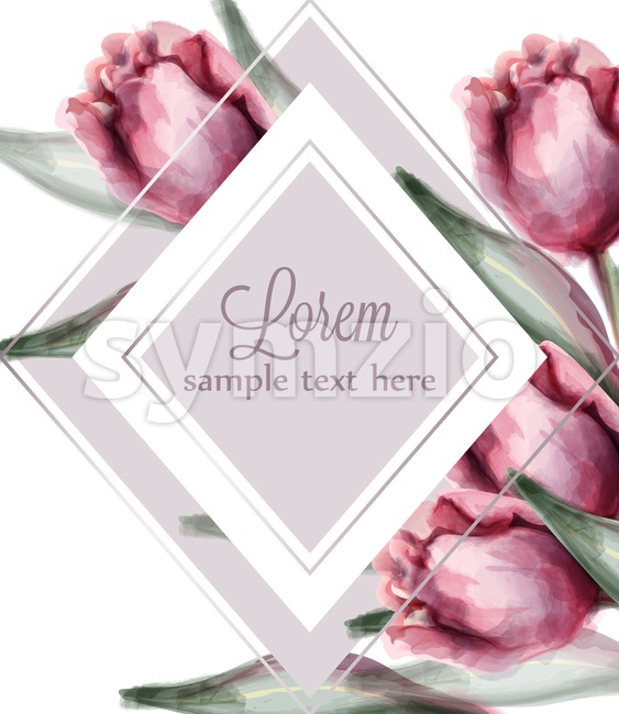 Pink tulip flowers card Vector watercolor. Spring summer decor frame illustration Stock Vector