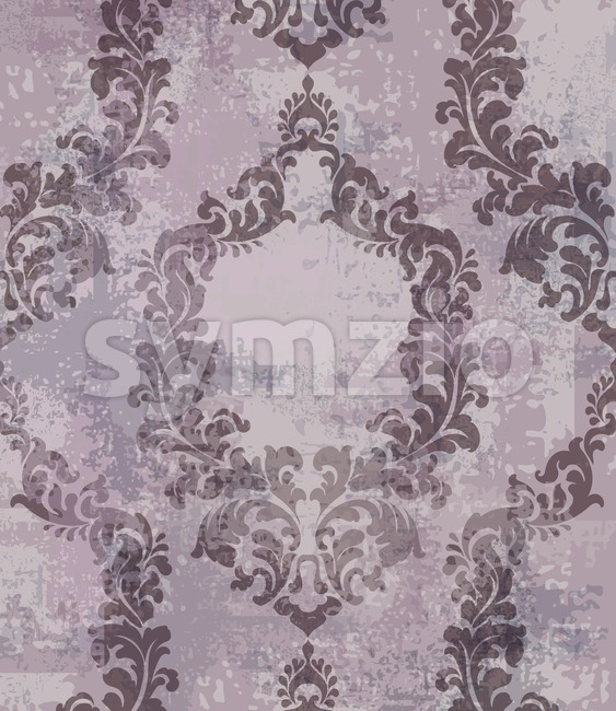 Classic texture pattern Vector. Floral ornament decoration old effect. Victorian engraved retro design. Vintage fabric decors. Lavender color Stock Vector
