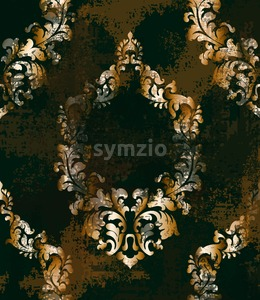 Rococo texture grunge pattern Vector. Floral ornament decoration old effect. Victorian engraved retro design. Vintage fabric decors. Dark rust color Stock Vector
