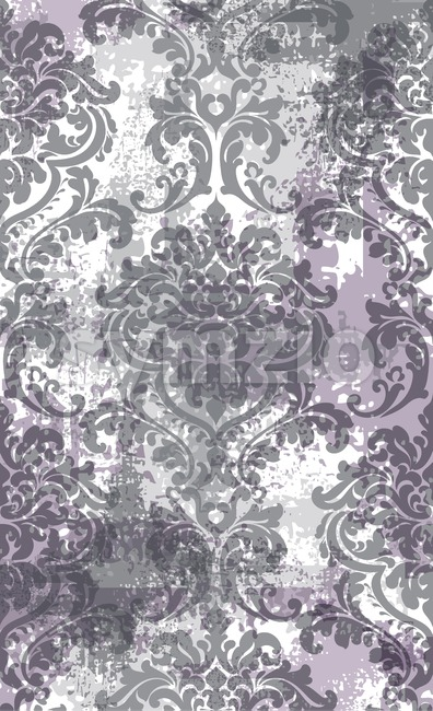 Rococo texture pattern Vector. Floral ornament decoration old effect. Victorian engraved retro design. Vintage fabric decors. Lavender color Stock Vector