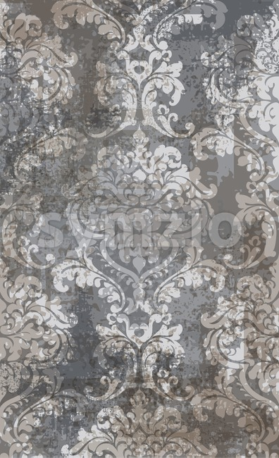 Rococo texture pattern Vector. Floral ornament decoration old effect. Victorian engraved retro design. Vintage fabric decors. Gray brown color Stock Vector
