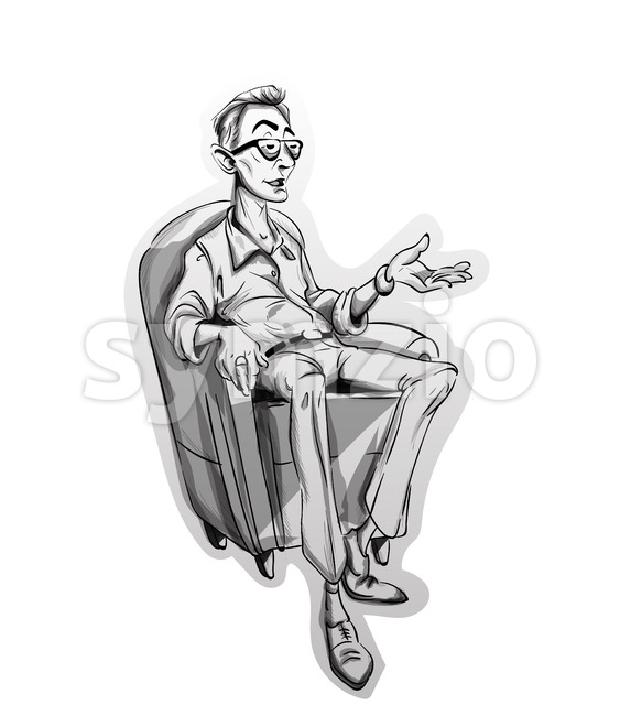 Journalist man sitting on a chair Vector sketch. Storyboard cartoon character illustration Stock Vector