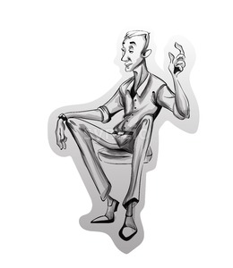 Man sitting on a chair Vector sketch. Idea concept. Storyboard cartoon character illustration Stock Vector