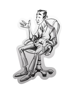 Man sitting on a chair Vector sketch. Storyboard cartoon character illustration Stock Vector
