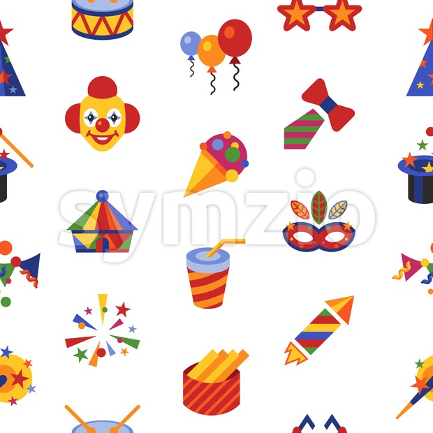 Digital vector carnival and circus simple icons, flat style seamless pattern infographics