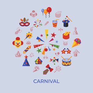 Digital vector carnival and circus simple icons, flat style infographics Stock Vector