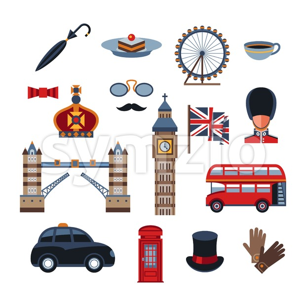 Digital vector london simple icons, flat style infographics