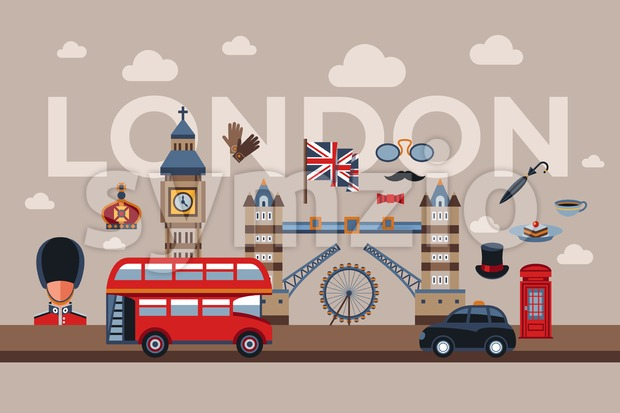 Digital vector london simple icons, flat style infographics Stock Vector