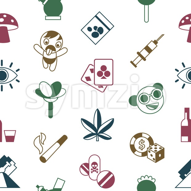 Digital vector freaks and drugs simple icons, flat style seamless pattern infographics Stock Vector