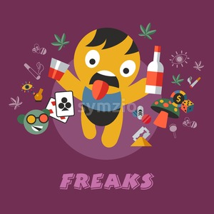 Digital vector having fun freaks and drugs simple icons, flat style infographics Stock Vector