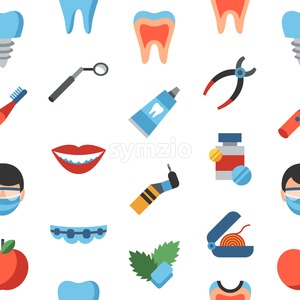 Digital vector dentistry and healthcare simple icons, flat style seamless pattern infographics Stock Vector
